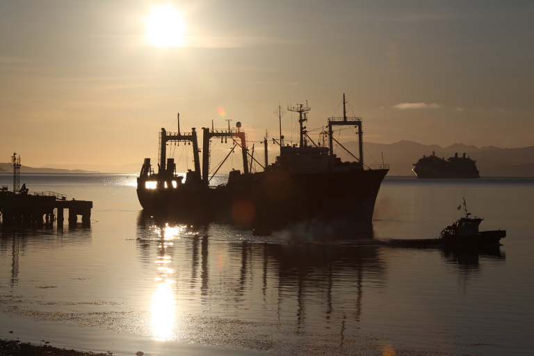 factory trawler in sunset